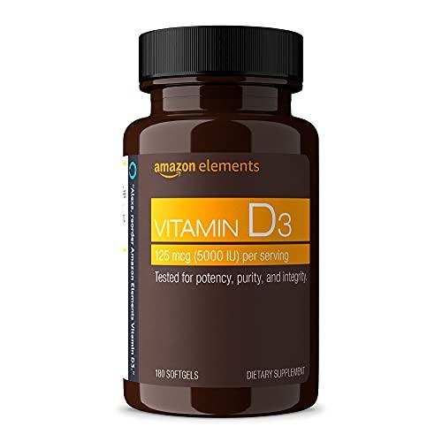 Amazon Elements Vitamin D3, 5000 IU, 180 Softgels, 6 month supply...