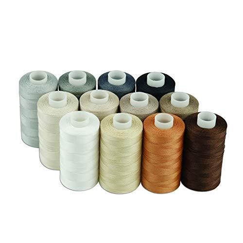 Simthread Baumwoll Nähgarn Quiltgarn für Nähen und Quilten Maschinen - 550 Yards/Spule, 12 Neutral Farben
