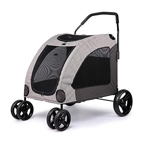MFFACAI Passeggino per Cani di Grossa Taglia Passeggino per Cani di Taglia Grande con 4 Ruote Passeggino da Viaggio per Animali Domestici Trasportino Pieghevole di Grandi Dimensioni (Color : Gray)