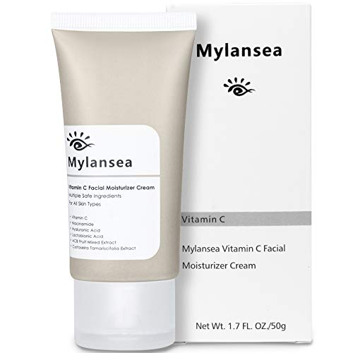 Vitamin C Face Cream Moisturizer, Mylansea Anti Aging Cream with Hyaluronic Acid, Anti Wrinkle & Brightening & Hydrating Night Cream 50g