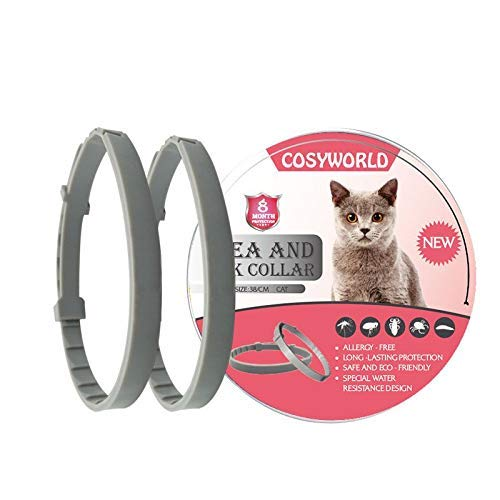 COSYWORLD 2 Pack Flea and Tick Collar for Cats - 100% Natural Essential Oil Flea & Tick Prevention - Adjustable, Safe & Waterproof Flea Control Collar