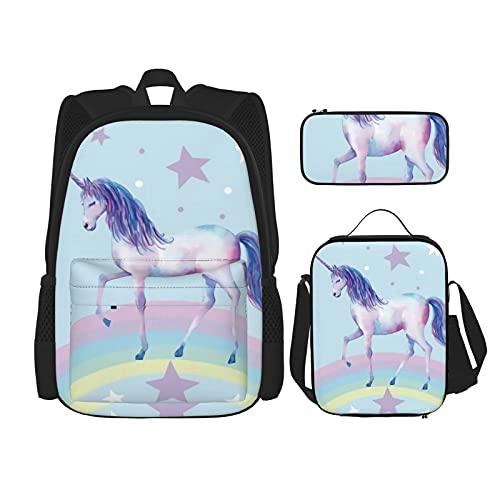 Mochila escolar Set Durable aislado bolsa de almuerzo estuche para niños niños bolsa de escuela, Lindo unicornio arco iris negro niña, Talla única