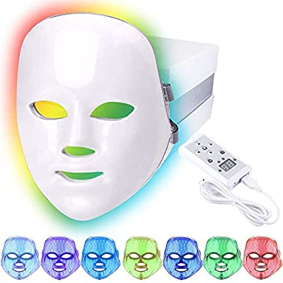 Led Face Light Therapy Mask,7 Color Beauty Photon Skin Rejuvenation Face Mask Facial Skin Care Anti Aging Skin Tightening Wrinkles Toning Mask Home Light Therapy Facial Care Mask by ENFJHED