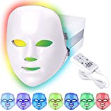 Led Face Light Therapy Mask,7 Color Beauty Photon Skin Rejuvenation Face Mask Facial Skin Care Anti Aging Skin Tightening Wrinkles Toning Mask Home Light Therapy Facial Care Mask