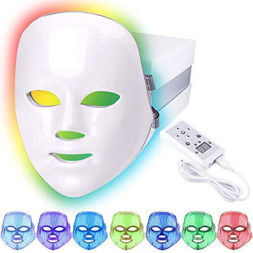 Led Face Light Therapy Mask,7 Color Beauty Photon Skin Rejuvenation Face Mask Facial Skin Care Anti...