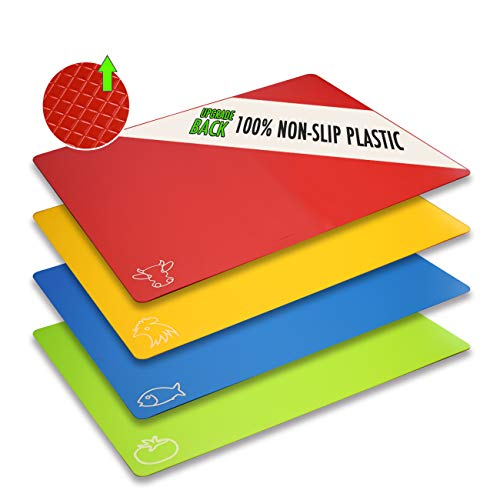 Cutting Board Mats Flexible Plastic Colored Mats With Food Icons, Fotouzy BPA-Free, Non-Porous, Upgrade 100% Non-Slip and Dishwasher Safe, Set of 4