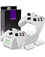 Fosmon Dual Controller laadstation compatibel met Xbox One/One S/One X/Elite Controller, (Dual Slot) docking station snellader en 2 X 1000 mAh NI-MH accu batterijen - wit