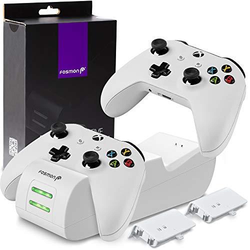 Fosmon Dual Controller Ladestation Kompatibel Mit Xbox One/One S/One X/Elite (Nicht Für Xbox Series X/S 2020) Controller, (Dual Slot) Docking Station Schnell Ladegerät und 2X Akku Batterien - Weiß
