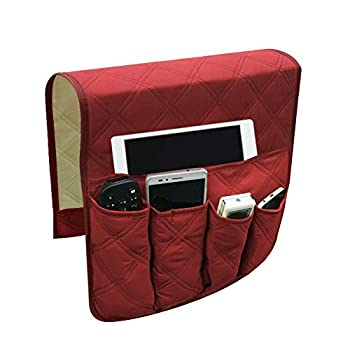 Zivisk Sofa Chair Couch Armrest Organizer 5 Pockets Anti-Slip Armchair Storage Bag Fits for Tablet Phone Pad Book Magazines TV Remote Control  Red
