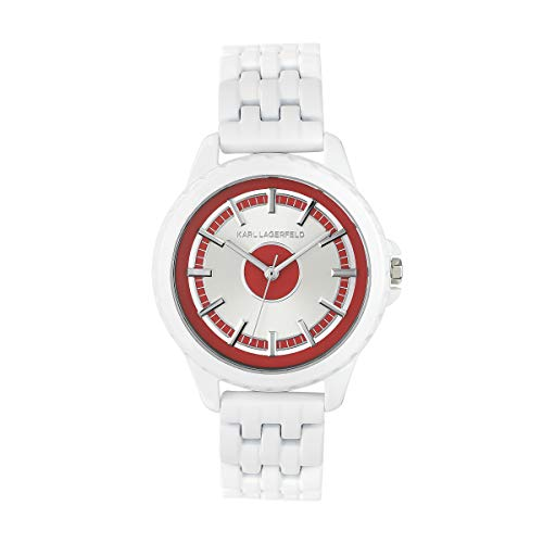 KARL LAGERFELD Women's Red & White Color Block Bracelet Damenuhr, 36mm, Quarz - 5552750