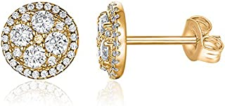 14K Gold Plated Sterling Silver Post Halo Cluster Cubic Zirconia Stud Earrings for Women | Gold Earrings