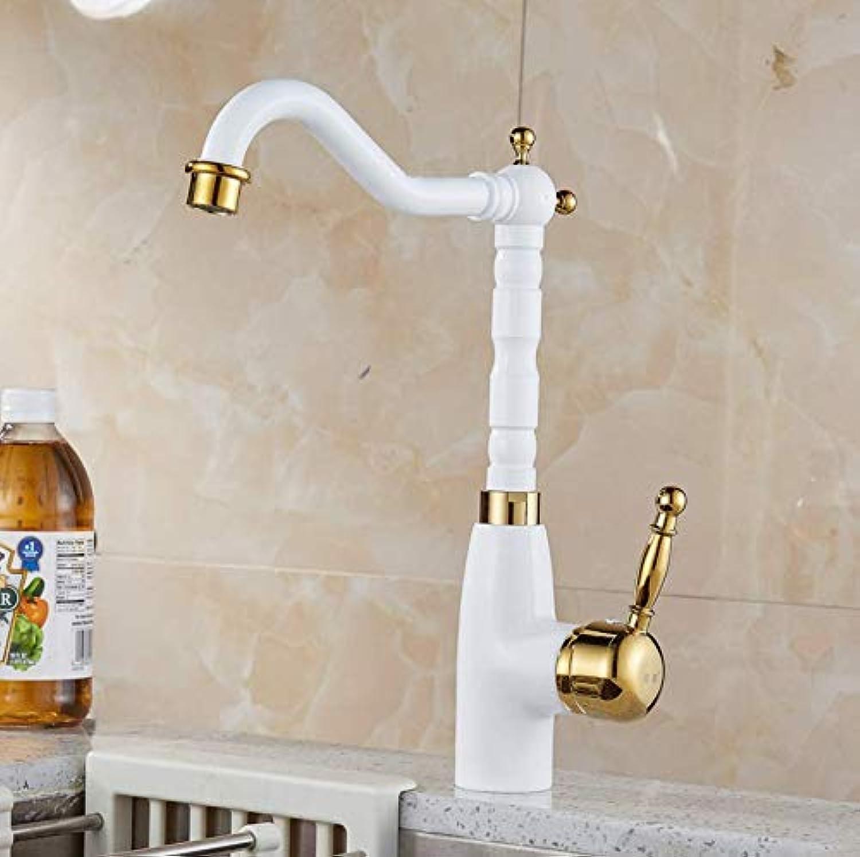 Dwthh Baking Finish White Basin Brass Bathroom Faucets Deck Mount Vanity Vessel Sinks Mixer Tap