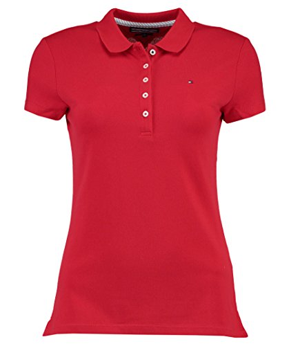Tommy Hilfiger Damen NEW CHIARA STR PQ POLO SS Poloshirt, Rot (Apple RED 611), 40 (L)