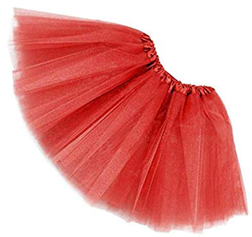 MUNDDY Tutu Elastico Tul 3 Capas 40 CM de Longitud para Adulta Distintas Colores Falda Disfraz Ballet (Rojo)