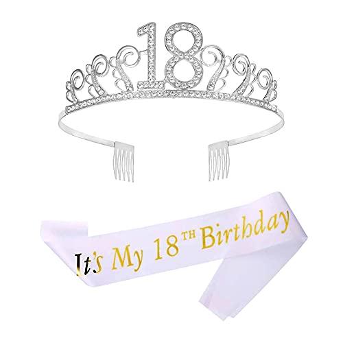 """18 Anni di Compleanno Donna Tiara Birthday Corona 18 Compleanno Glitter Bianca """"Its My 18th Birthday"""" Sash per Feste di Compleanno Torte di Compleanno Decorazioni"""