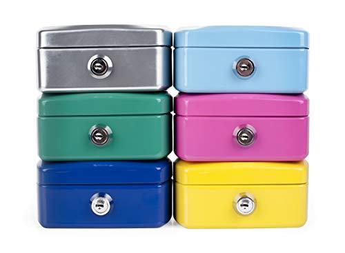 Geldkassette Geldschatulle Spardose für Kinder Minigeldkassette Tresor Safe Sparbüchse, Farbe: hellblau