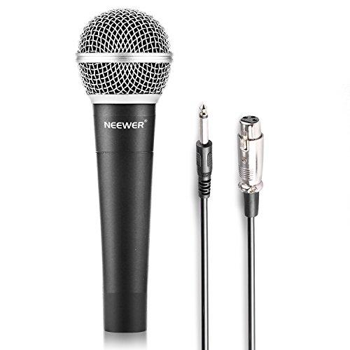 """Neewer® Micrófono dinámico para karaoke, escenario, estudio de grabación en casa, con conector de 1/4""""a cable hembra XLR, aleación de cinc, profesional, condensador duradero, color negro"""
