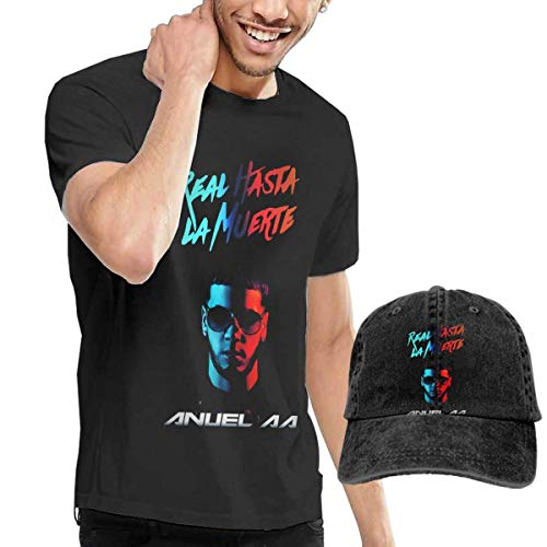 BAODANLE Camisetas y Tops Hombre Polos y Camisas Anuel AA T Shirt Men Cotton Short Sleeve Tees and Baseball Hat Cap Combo Set Funny Tops Tees