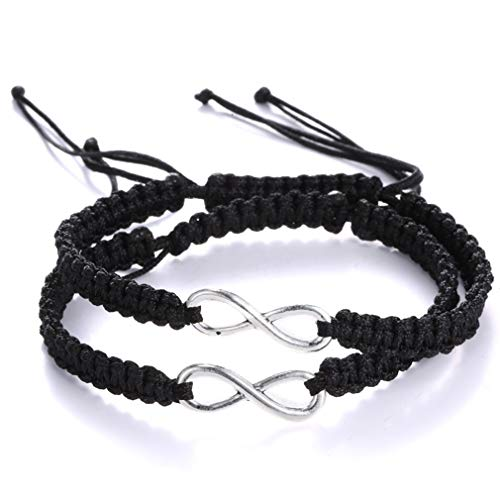 AidShunn Armbänder unendlich Geflochtene Handcrafted Einstellbare Geflochtene für Männer Frauen Freundschaft Familie Paar 2 Pcs