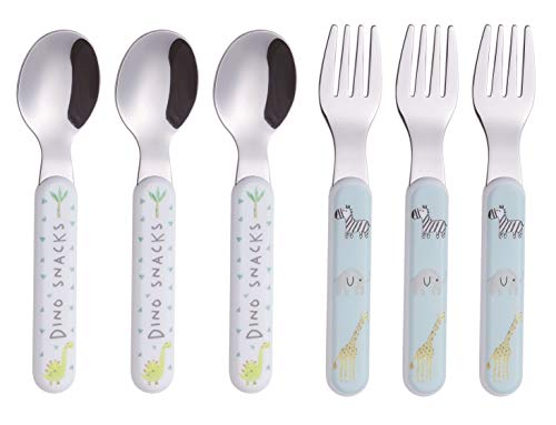 Annova Kids Silverware 6 Pieces Stainless Steel Children's Flatware Set 3 x Forks, 3 x Tablespoon Plastic Handle, Toddler Utensils Without Knives, for Babies, Infants BPA Free (Cute Animals)