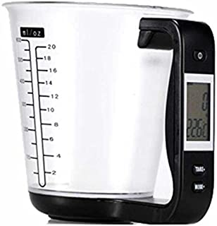 1Pcs Digital kitchen Electronic Measuring Cup Scale Household Jug Scales with LCD Display Temp Measurement 16x12.5x13.5cm (black)