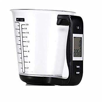 1Pcs Digital kitchen Electronic Measuring Cup Scale Household Jug Scales with LCD Display Temp Measurement 16x12.5x13.5cm  black