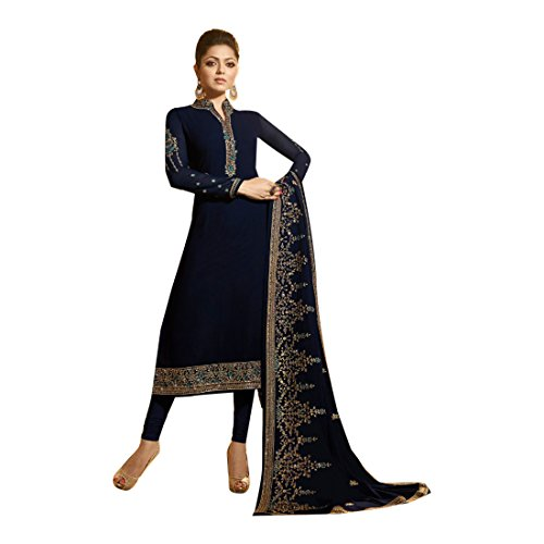 ETHNIC EMPORIUM Blue New Indian Pakistani Straight Salwar Kamiz Kameez Suit Kurti Bollywood Girl Top Straight Pant Wedding Suit Georgette Damen Dirndl Hochzeit Frauen Party Women 2636