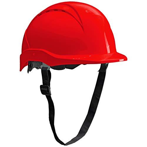 ACE Patera Casco Obra - Casco Seguridad - Casco de Trabajo con Cierre de Rosca, Ventilado y Ajustable - Rojo