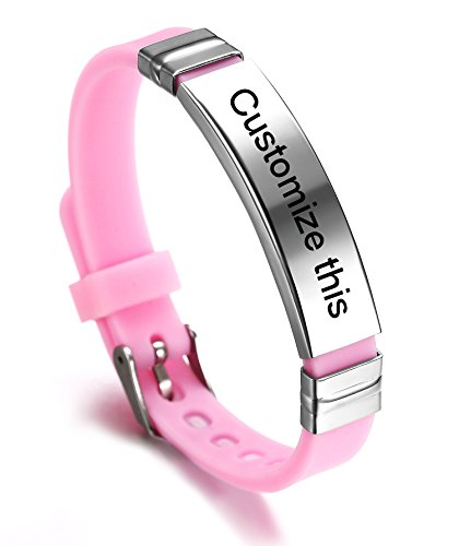 JF.JEWELRY Personalized Custom Silicone Cuff Bracelet for Kids with Stainless Steel Tag,Pink