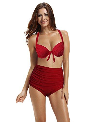 zeraca Women's Retro Halter Push up High Waisted Bikini Carnival Swimsuit (M8 36B, Dark Red)