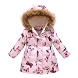 UWBACK Winter Coat For Girls Hooded Floral Print Kids Warm Cotton Parka Pink butterfly 120