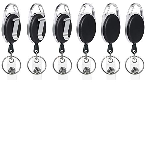 Vicloon 6 piezas Llavero Retráctil,Mosquetón de Carrete de Tarjeta y Clip de Cinturon con Cordón de Nylon Extensible para Soporte de Tarjeta ID