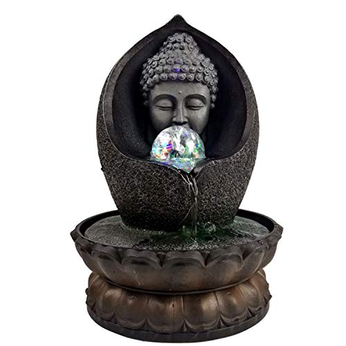 Easy launch Tabletop Zen Sculpture Indoor Water Fountain Statue Waterfalls with LED Pump 11 Inch with Lotus Pedestal, Fengshui Ball polyresin