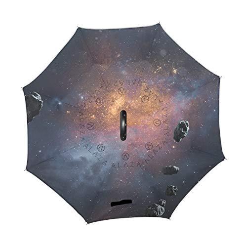 Chic Houses Space NASA Parapluie inversé coupe-vent avec poignée en forme de C 2030112