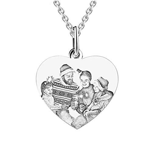 Collar de foto de bricolaje Collar de texto de imagen personalizado Collar tallado Collar en forma de corazón Collar de promesa(Acero de titanio 24)