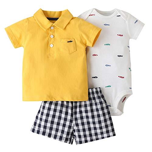 3 Paquetes Bebé Niños Pijama Atuendo Juegos de Ropa, NiñIto Camiseta + Pantalones Cortos + Body Conjunto de Ropa 3-6 Meses