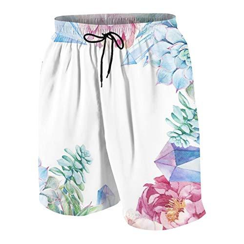 MAYBELOST Pantalones Cortos de Playa para Hombre,Acuarela en Piedras Preciosas Modernas Boho Chic Suc,Trajes de baño de Secado rápido Trajes de baño con Forro de Malla y Bolsillos