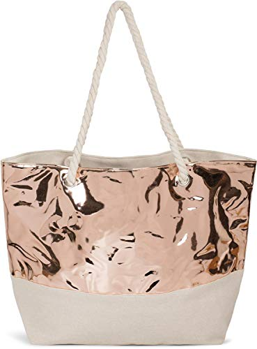 styleBREAKER Damen XXL Strandtasche in Metallic Optik mit Reißverschluss, Schultertasche, Shopper 02012279, Farbe:Rosegold Metallic