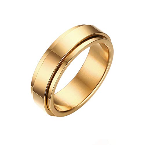 Jakob Miller 6MM Stainless Steel Spinner Ring Women Men, Fidget Ring Lucky Worry Ring Band, Size 7 to 11