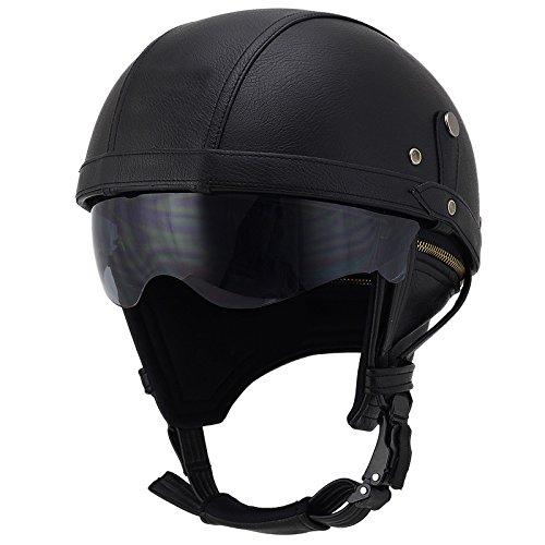 Woljay Cuir Casque de Moto et Velo Bol Lunettes Retro Style de Vintage Cuir Harley Casque Moitié Helmets (Noir avec lentille de Soleil)