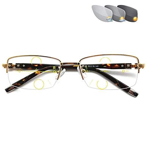 Z&HA Blått ljusblockerande glasögon, HD anti-bländning fotokromisk progressiv multifokal speldator skärm anti-öga belastning datorläsare, guld, +1,5