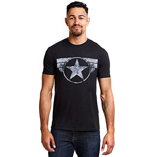 Marvel Captain America-Cap Logo T-Shirt, Noir (Black Blk), Large Homme