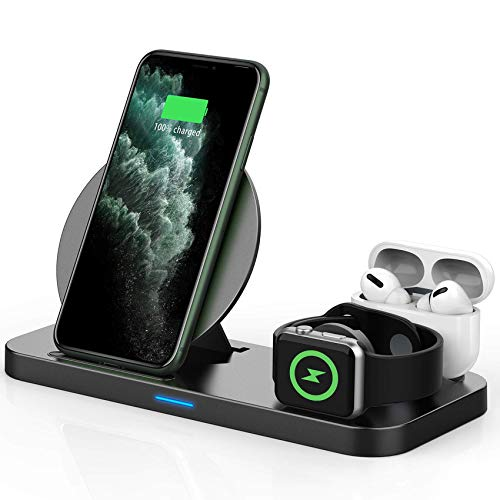 Updated Version 3 in 1 Wireless Charger, Apple Watch & AirPods Charging Dock Station, Nightstand...