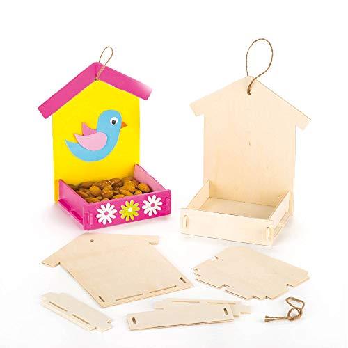 Baker Ross Bastelsets für Futterhäuschen aus Holz für Kinder zum Bemalen, Gestalten und Aufhängen (3 Stück)
