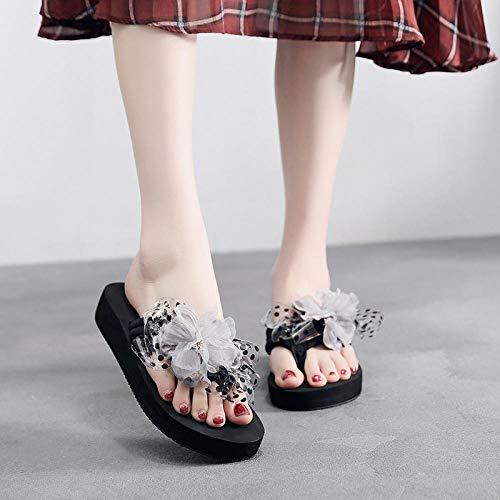 chanclas,Versión coreana de las nuevas sandalias y zapatillas de moda para mujer, niñas elegantes, fuera de las sandalias y zapatillas de moda, zapatos de playa de suela blanda-Flor gris fondo negro