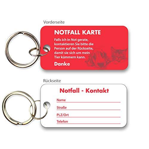 Haustier Notfallkarte aus hochwertigen PVC zum Schutz Ihrer Haustiere bei Abwesenheit - Emergency Card - rot mit Schlüsselring