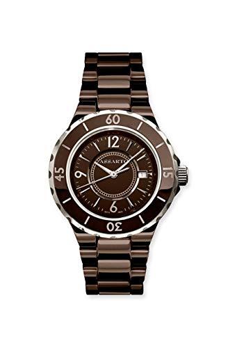 ASSARTO Watches ASD-5115BRN Ceramic-Fusion Keramikuhr mit Schweizer Uhrwerk und Saphirglas, braune Damenuhr, Quarzuhr, Luxusuhr, Uhr für Damen