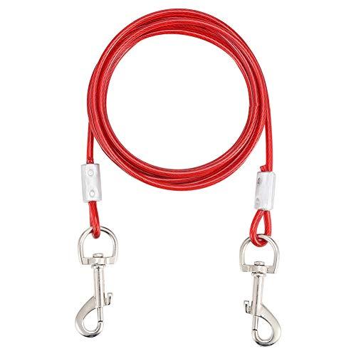 adakel Hofleine für Hunde 3m, Hundeleine bis 80kg Pet Sicherheit Seil Doppelköpfe Kauen Beständig für Kleine Mittlere oder Große Hunde(Rot)