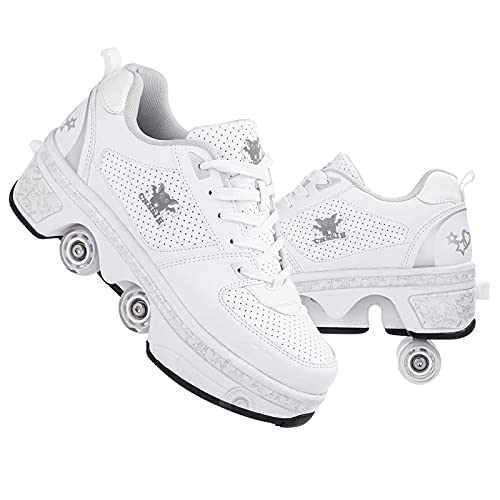 Roller Skates for Women Outdoor,Parkour Shoes with Wheels for Girls/Boys,Kick Rollers Shoes Retractable Adults/Kids,Quad Roller Skates Men,Unisex Skating Shoes Recreation Sneakers,Silver-8US
