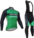 ZLYY De Aluminio de Ciclo de la Manga Larga Jersey de otoño de la Bicicleta de Jersey del Babero Camisa Pantalones Largos Trajes de Hombre for Bicicleta Ropa de Ciclismo (Color : Green-3, Size : XXL)
